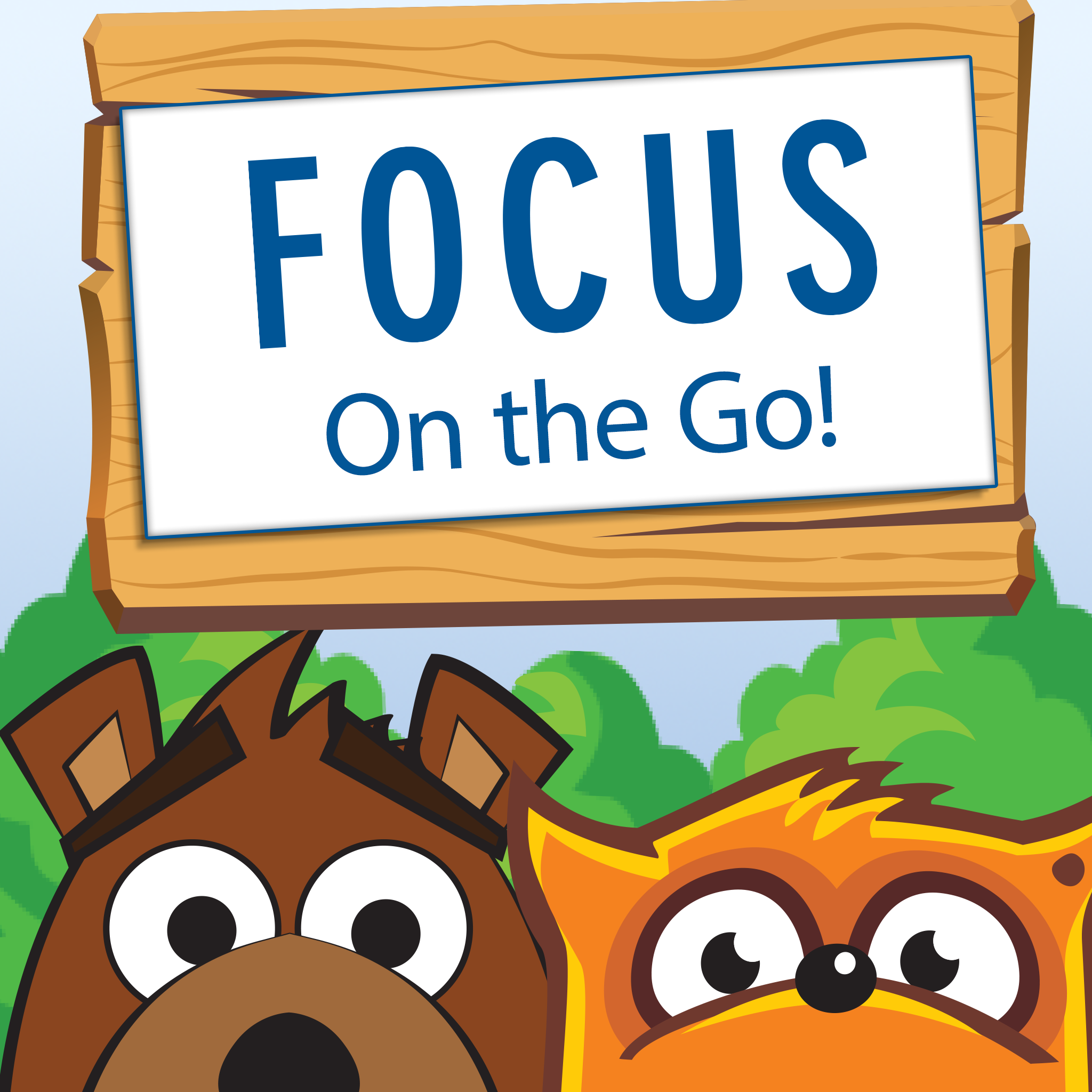 FOCUS on the go icon with Buddy Bear and Feeling Fox
